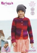 Stylecraft Childrens & Ladies Jacket & Loop Scarf Harlequin Knitting Pattern 9102  Chunky