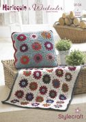 Stylecraft Home Throw, Rug & Cushion Cover Harlequin Crochet Pattern 9104  Chunky