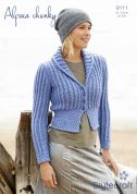 Stylecraft Ladies Fitted Jacket Alpaca Knitting Pattern 9111  Chunky