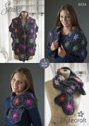 Stylecraft Ladies Shawl & Scarf Senses Crochet Pattern 9124