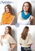 Stylecraft Ladies Wraps & Accessories Malabar Knitting Pattern 9145  Aran