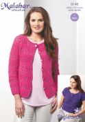 Stylecraft Ladies Eyelet Tee & Cardigan Malabar Knitting Pattern 9146  Aran