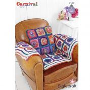 Stylecraft Home Square Cushion & Throw Carnival Crochet Pattern 9157  Chunky