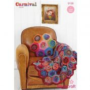 Stylecraft Home Hexagon Cushion & Throw Carnival Crochet Pattern 9158  Chunky