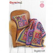 Stylecraft Home Granny Square Cushion & Throw Carnival Crochet Pattern 9159  Chunky