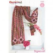 Stylecraft Ladies Shawl, Scarf & Mittens Carnival Crochet Pattern 9160  Chunky