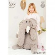 Stylecraft Huge Elephant Toy Life Knitting Pattern 9162  Super Chunky