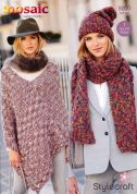 Stylecraft Ladies Poncho, Hat & Scarf Mosaic Knitting Pattern 9200  Super Chunky