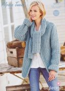 Stylecraft Ladies Scarf Neck Jacket Alpaca Tweed Knitting Pattern 9205  Chunky