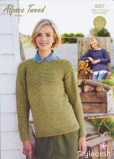 Stylecraft Ladies Sweater Alpaca Tweed Knitting Pattern 9207  Chunky