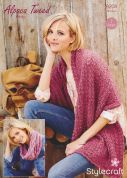 Stylecraft Ladies Wrap & Scarf Alpaca Tweed Knitting Pattern 9208  Chunky