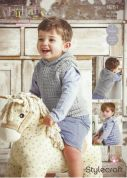 Stylecraft Baby & Childrens Waistcoat & Hoodie Lullaby Prints Knitting Pattern 9281  DK
