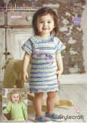 Stylecraft Baby & Childrens Sweater & Dress Lullaby Prints Knitting Pattern 9283  DK