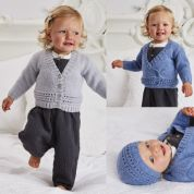 Stylecraft Baby Cardigans & Hat Wondersoft Knitting Pattern 9480  DK