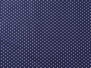 Spotty Print 100% Cotton Voile Dress Fabric  Navy Blue