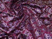 Metallic Brocade Fabric  Plum