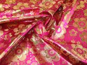Metallic Brocade Fabric  Cerise Pink