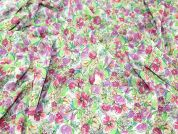 Floral Print Chiffon Dress Fabric  Pink & Green