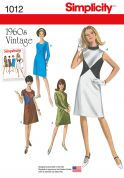 Simplicity Ladies Sewing Pattern 1012 1960s Vintage Style Dresses