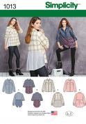 Simplicity Ladies Sewing Pattern 1013 Shirts & Blouses in 4 Styles
