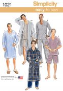 Simplicity Mens Easy Sewing Pattern 1021 Pyjamas & Dressing Gown