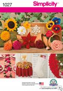Simplicity Crafts Easy Sewing Pattern 1027 Decorative Flowers in 19 Styles