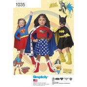 Simplicity Girls Sewing Pattern 1035 Wonder Woman, Supergirl & Batgirl Costumes
