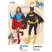 Simplicity Ladies Sewing Pattern 1036 Supergirl & Batgirl Costumes