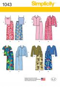 Simplicity Childrens Easy Sewing Pattern 1043 Pyjama Tops & Pants
