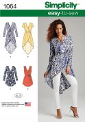 Simplicity Ladies Easy Sewing Pattern 1064 Tunic Tops & Tie Belt