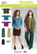Simplicity Ladies Easy Sewing Pattern 1071 Tops, Trousers & Skirt