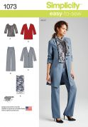 Simplicity Ladies Easy Sewing Pattern 1073 Top, Jackets, Trousers & Scarf