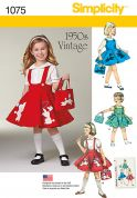 Simplicity Girls Sewing Pattern 1075 Vintage Style 1950's Pinafore Dresses & Bag