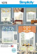 Simplicity Homeware Sewing Pattern 1078 Window Valances