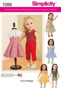 Simplicity Doll Clothes Easy Sewing Pattern 1086 Everyday Wear