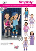 Simplicity Doll Clothes Easy Sewing Pattern 1087 Dress Up