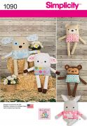 Simplicity Crafts Easy Sewing Pattern 1090 Cute Soft Toys