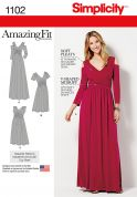 Simplicity Ladies Sewing Pattern 1102 Amazing Fit Dresses with Soft Pleats