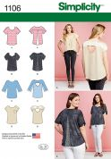Simplicity Ladies Sewing Pattern 1106 Pretty Casual Tops in 4 Styles