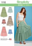 Simplicity Ladies Easy Sewing Pattern 1110 Tiered Skirts in 6 Styles