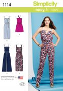 Simplicity Ladies Easy Sewing Pattern 1114 Jumpsuits in 4 Styles
