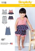 Simplicity Toddlers Easy Sewing Pattern 1118 Dress, Tops, Shorts & Pants
