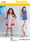 Simplicity Girls Easy Sewing Pattern 1119 Summer Dresses with Tie Shoulders