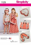 Simplicity Girls Sewing Pattern 1129 Dress, Top, Shorts, Doll Clothes & Accessories