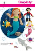 Simplicity Easy Sewing Pattern 1131 Pirates, Mermaids, Shark & Fish Soft Toys