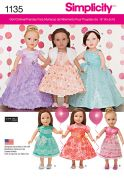 Simplicity Craft Easy Sewing Pattern 1135 Doll Clothes Fancy Party Dresses