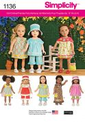 Simplicity Craft Easy Sewing Pattern 1136 Doll Clothes Casual Summer Clothes
