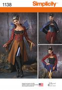 Simplicity Ladies Sewing Pattern 1138 Fantasy Costumes with Cape & Wings