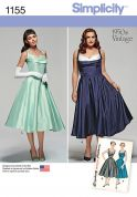 Simplicity Ladies Sewing Pattern 1155 1950s Vintage Style Glamour Dresses