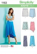 Simplicity Ladies Easy Sewing Pattern 1163 Jersey Knit Skirts
